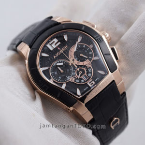 Aigner Palermo Pria Black Rose Gold 44mm KW Super A58500 Hands ON 1
