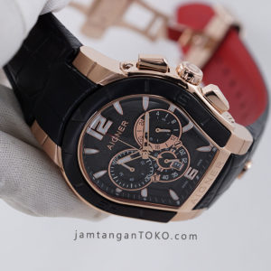 Aigner Palermo Pria Black Rose Gold 44mm KW Super A58500 Hands ON 2