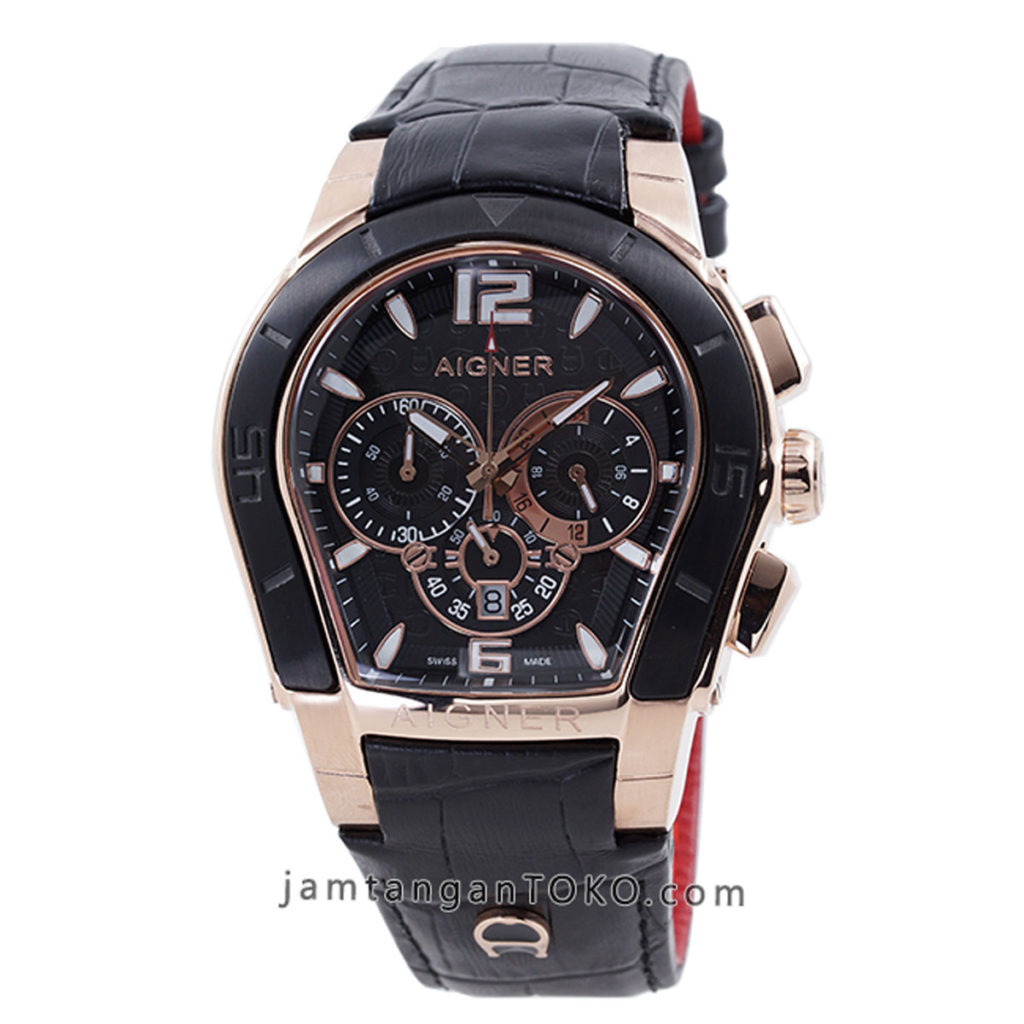 Jam tangan Aigner Palermo Black Rose Gold Chronograph 44mm KW Super A58500