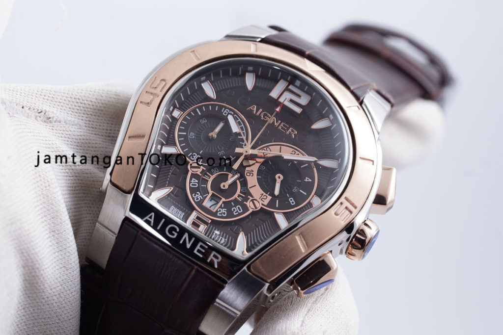 Jam tangan Aigner Palermo Brown Rose Gold Silver Hands ON