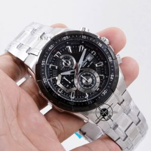 Casio Edifice EFR-539D-1AV Rantai Silver Plat Hitam Hands ON