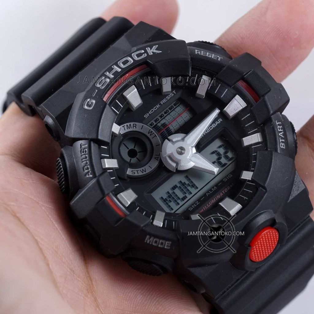 G-SHOCK GA-700-1A Hitam Merah Hands ON