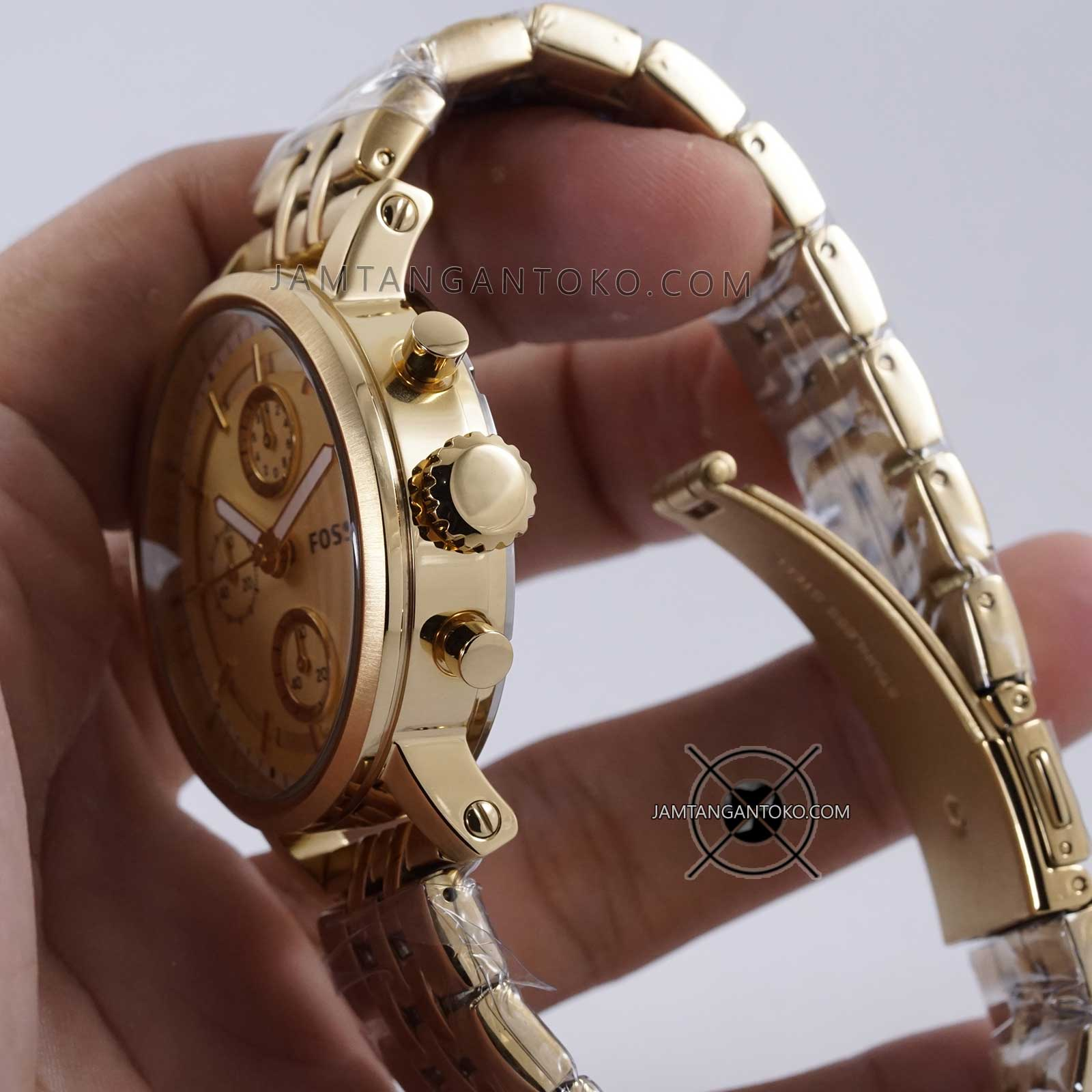 Fossil Jam Tangan Wanita Choronograp Display Analog Quartz Watch Original Es3264 Bagian Crown