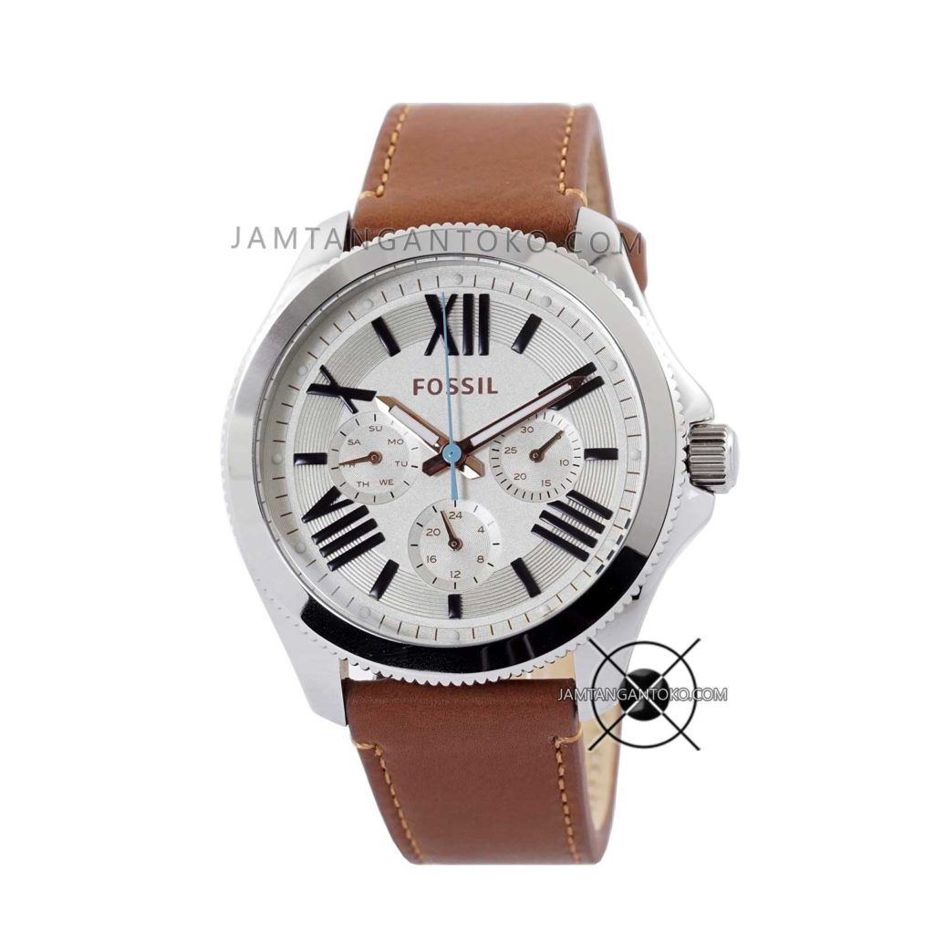 Jam tangan Fossil AM4638 Cecile Silver Brown Leather Original