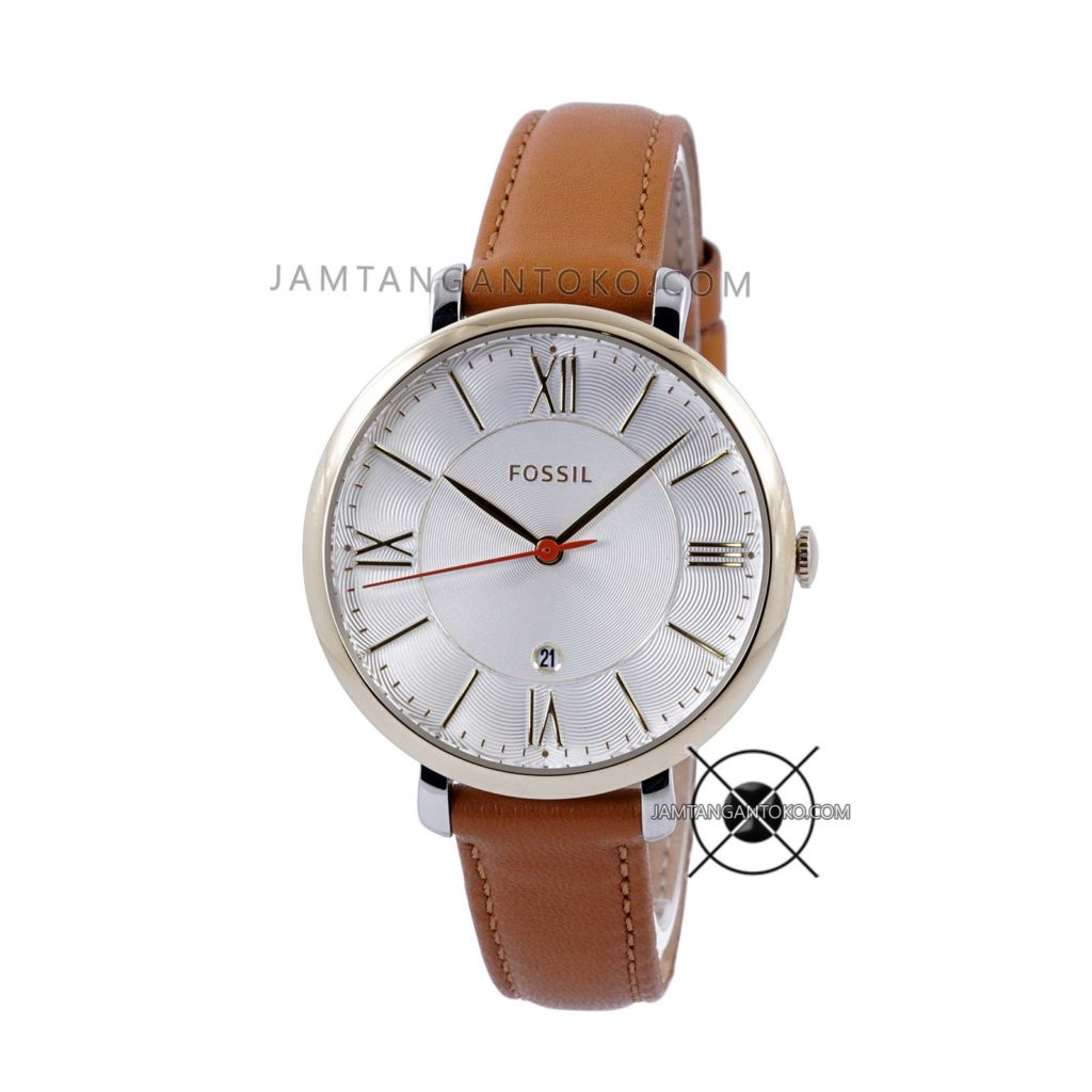 Jam tangan Fossil Wanita Jacqueline ES3737 Brown Leather Original