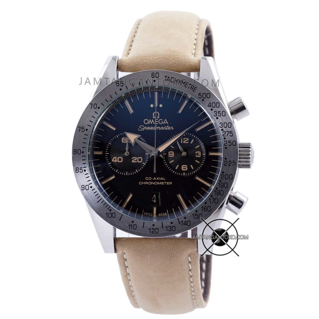 Jam tangan Omega Speedmaster 57 Chronograph Soft Brown Leather KW Super Grade AAA