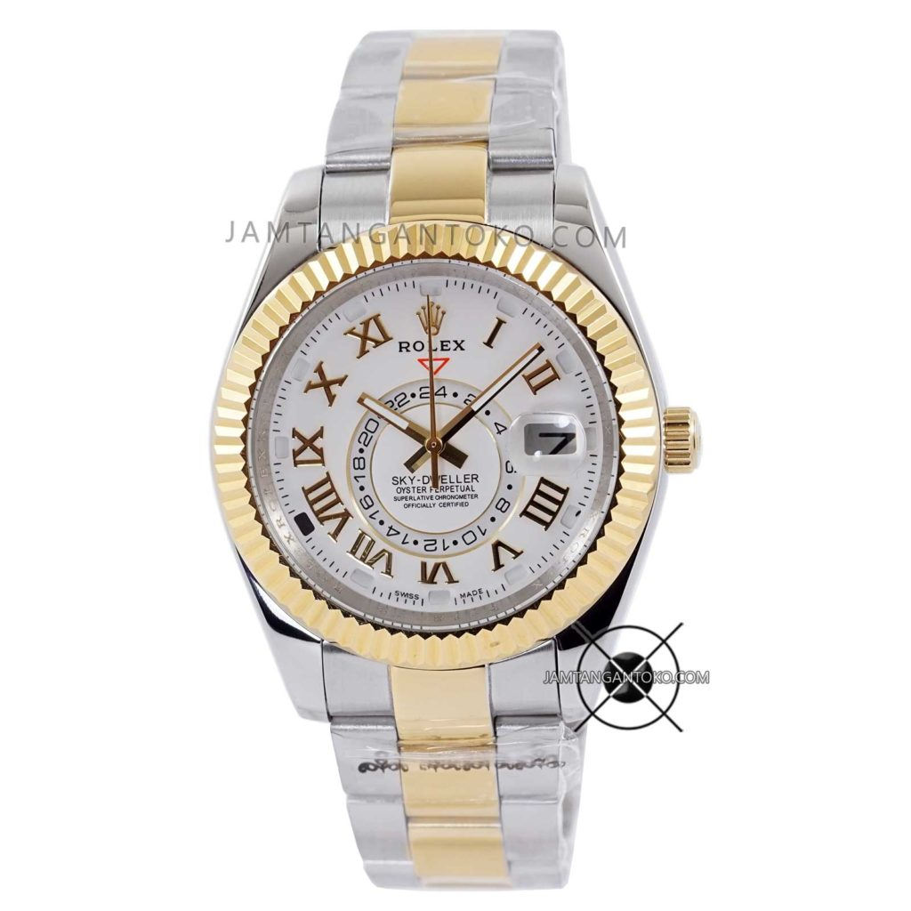 Jam tangan Rolex Oyster Perpetual Sky-Dweller Silver Gold KW Super