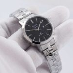 LADIES AC 1007 LD Primo Steel Silver Black Dial Date 32mm