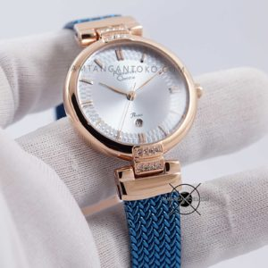 Alexandre Christie LADIES AC 2757 LD Blue Rose Gold Close Up