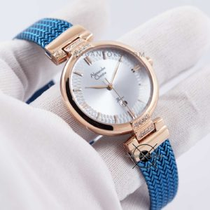 Alexandre Christie LADIES AC 2757 LD Blue Rose Gold Hands ON 1