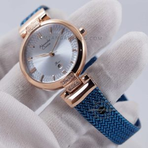 Alexandre Christie LADIES AC 2757 LD Blue Rose Gold Hands ON 2