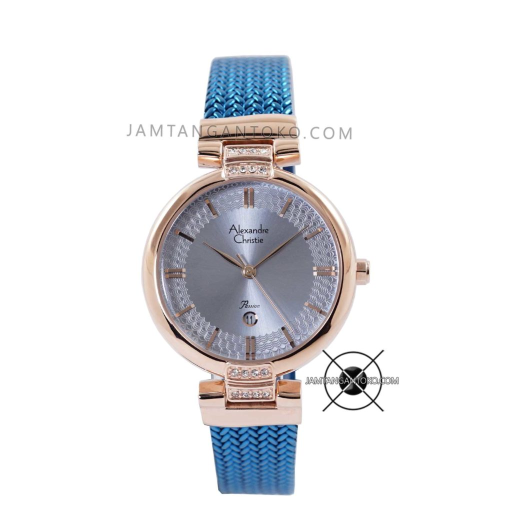 Jam Tangan Alexandre Christie LADIES AC 2757 LD Blue Rose Gold Passion