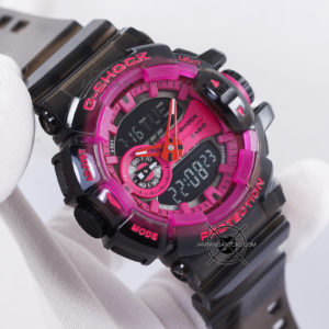 G-Shock GA-400SK-1A4 Black Pink Transparan ORI BM Hands ON 2