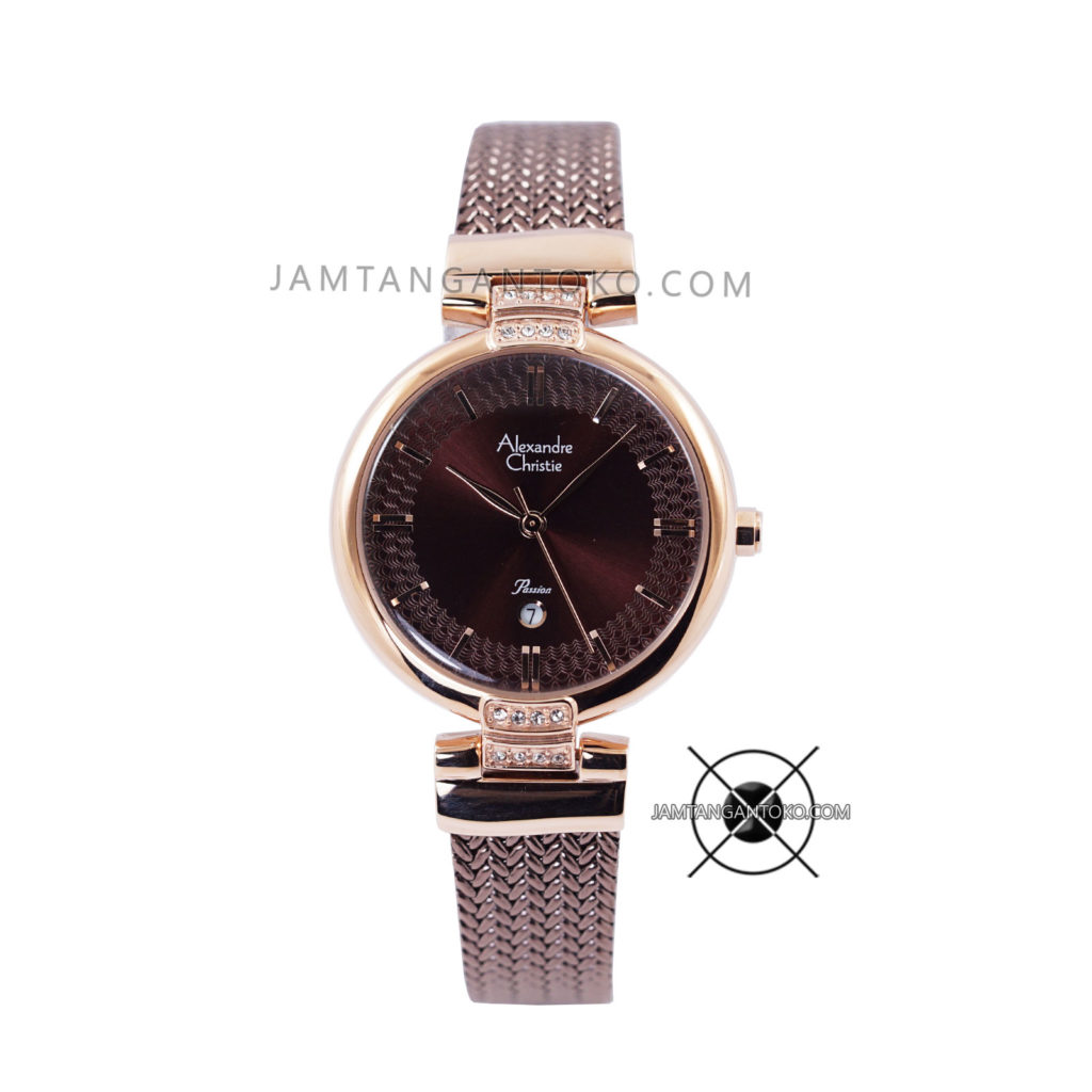 Jam Tangan Alexandre Christie LADIES AC 2757 LD Brown Rose Gold Passion Series