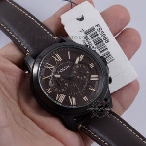 Fossil Grant FS5088 Chronograph Black Brown Dark Theme Original Hands ON 1