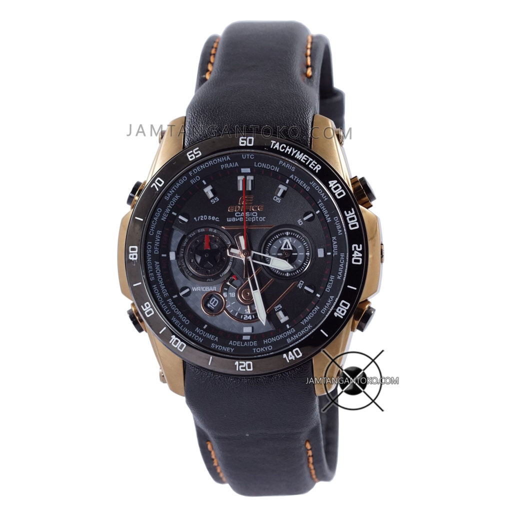 Jam tangan Casio Edifice Kulit EQW-M1000L-1A Leather Black Gold Original BM