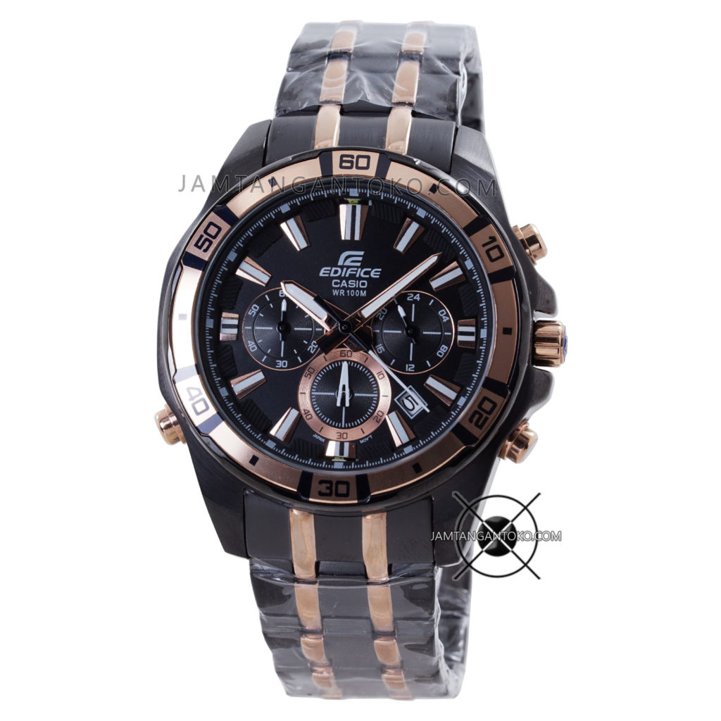Jam tangan Pria CASIO EDIFICE EFR-534BKG-1AV Black Rose Gold Original BM