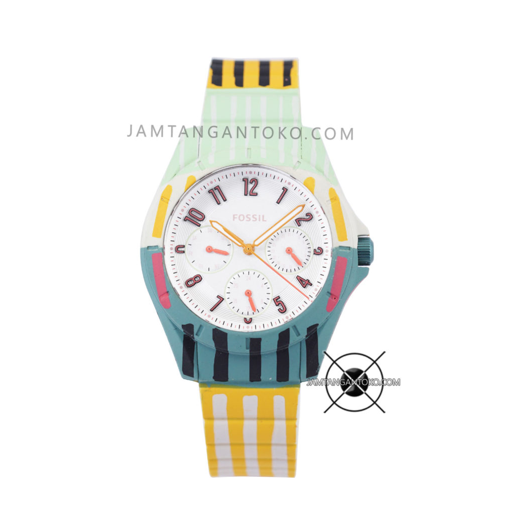 Jam tangan FOSSIL POPTASTIC ES4244 SPORT MULTIFUNCTION STRIPED SILICONE WATCH Original