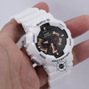 BA-130-7A4 Putih Dial Black Rosegold Hands ON 1