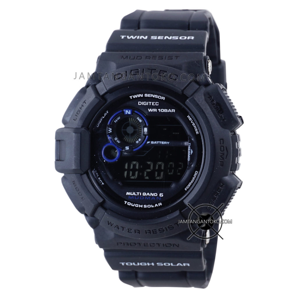 Jam tangan Digital Digitec DG-2028T Black Blue Original