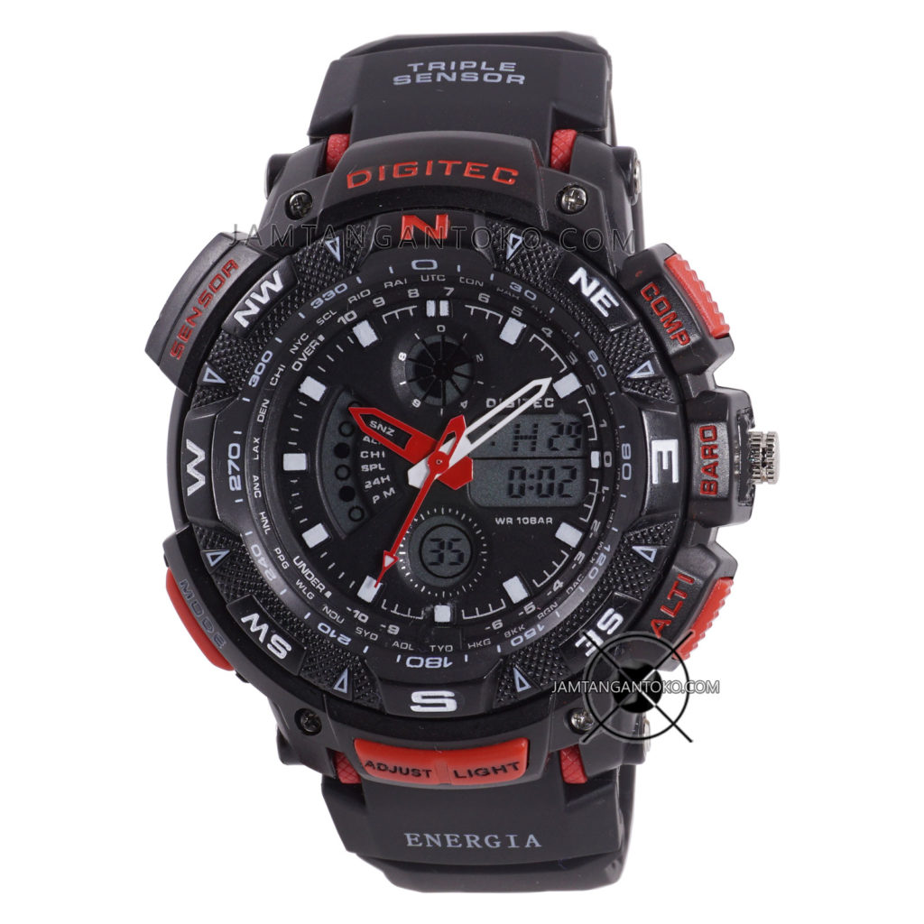 Jam tangan Digitec ENERGIA DG-2044T Black Red Original