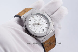 HUBLOT Classic Fusion Chronograph 44mm Silver White Dial Ukuran Pria KW SUPER AAA Realpict Hands ON 1
