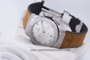 HUBLOT Classic Fusion Chronograph 44mm Silver White Dial Ukuran Pria KW SUPER AAA Realpict Hands ON 3