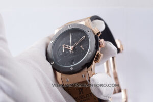 HUBLOT Pria Classic Fusion Berluti Chronograph 45mm Limited Edition Black Rose Gold KW Super AAA Realpict Hands ON 2