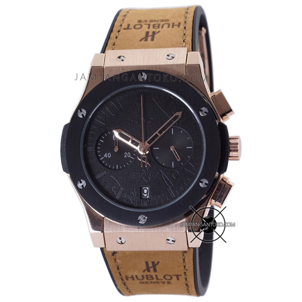 Jam Tangan HUBLOT Pria Classic Fusion Berluti Chronograph 45mm Limited Edition Black Rose Gold KW Super AAA