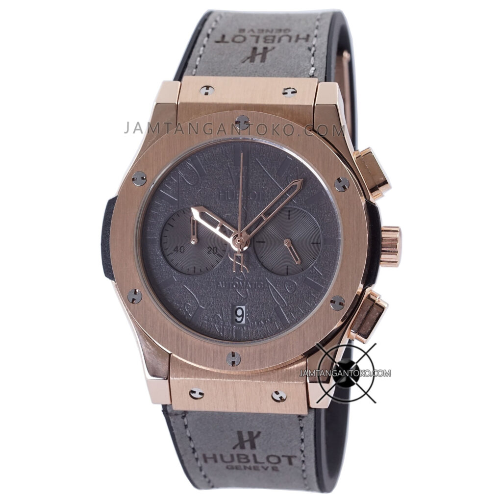 Jam tangan Hublot Classic Fusion Berluti Chronograph 45mm Limited Edition Grey Rose Gold KW Super AAA