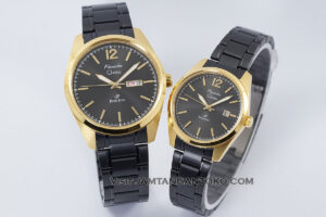 Jam tangan Couple Alexandre Christie Primo AC 1012 Rantai Black Gold Termurah Original Gb2